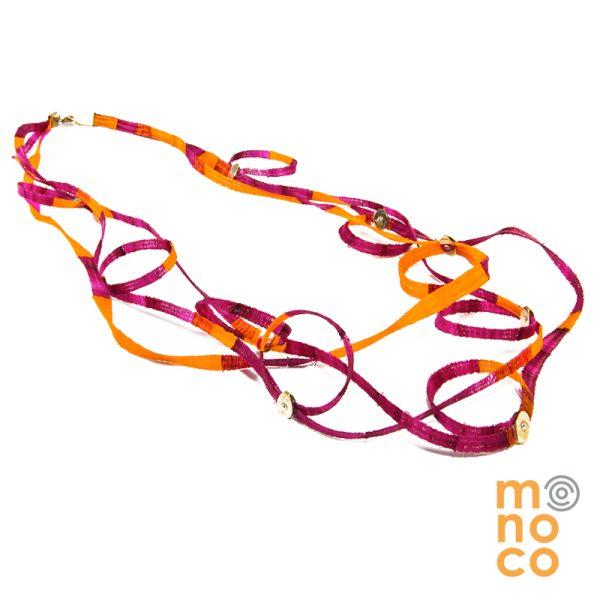 Collar Kullacas Triple Naranjo/Fucsia