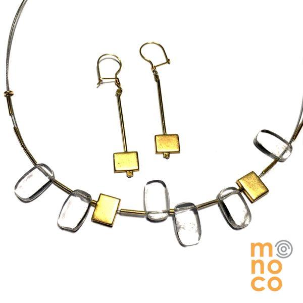 Conjunto Cristal de Roca Plata bañada en oro