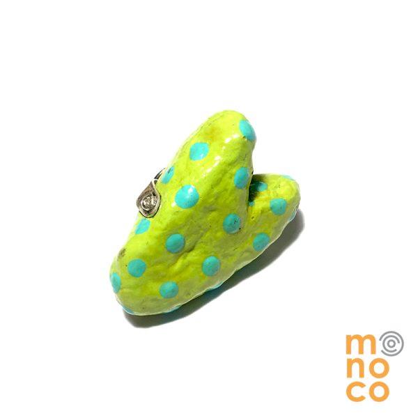 Pin Corazon Papel Mache Verde