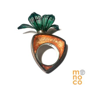Copper Resin Horse Hair Flower Copper Ring