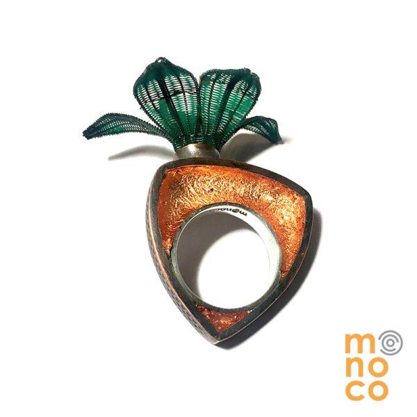 Copper Resin Horse Hair Flower Copper Ring