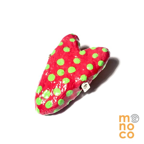 Broche Corazon Papel Mache Rojo/verde