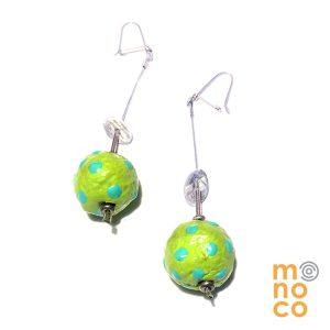 Aros bolas Papel Mache Verde/Calipso
