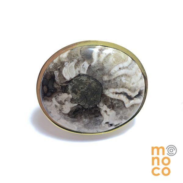 Anillo Oval Plata/Bronce Amonita