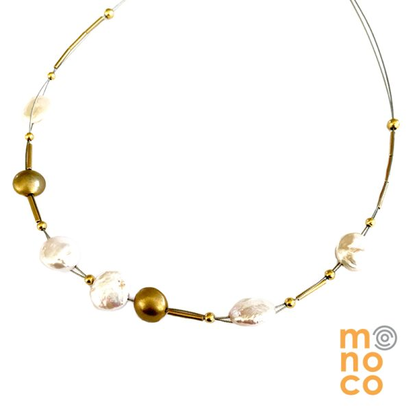 Collar Plata Bañada En Oro Y Perlas Redondas