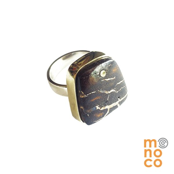 Anillo Irregular Plata/Bronce Ópalo Australiano