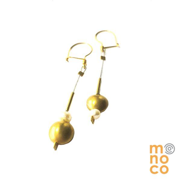 Aros Plata Baño Oro Perlas Redondas