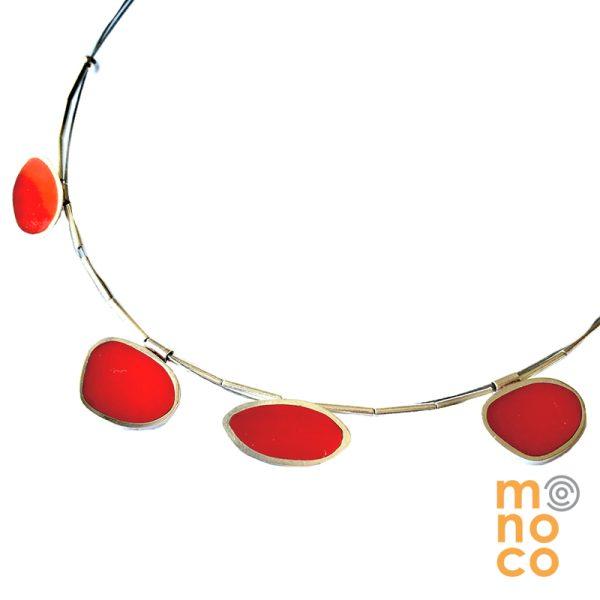Collar Resina Irregular Rojo