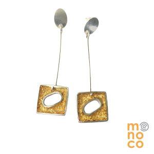 Aros Colgantes Resina Cuadrados Con Pan De Oro