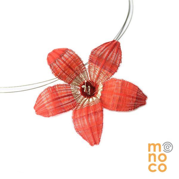 Gargantilla Simple Flor Crin Plata
