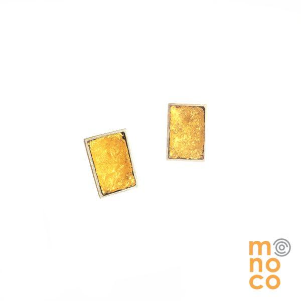 Aro Tope Rectangular Resina Con Pan De Oro