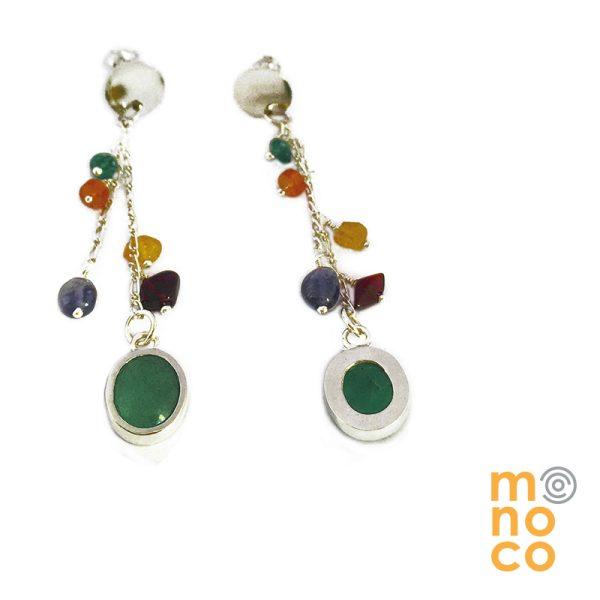 Aros Racimo Multicolor Jade