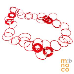 Collar Troya Seis Rojo/ Plata
