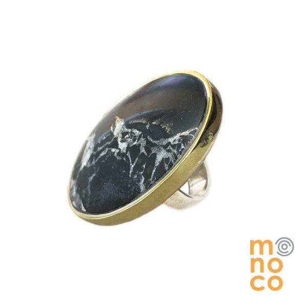 Anillo Oval Plata/Bronce Septaria