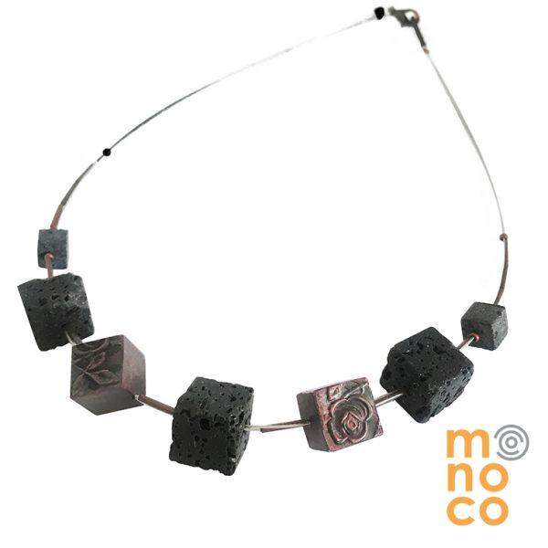 Collar Cubos Rosa Cobre/Lava