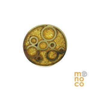 Anillo Bronce Burbuja Resina/Oro